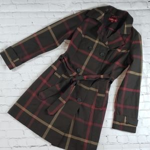 Merona Plaid Fall Trench Coat